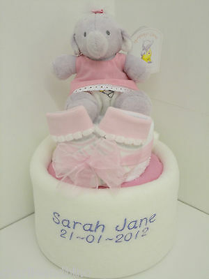 Personalised Humphrey's Corner Nappy Cake with Personalised Baby Blanket - Girls