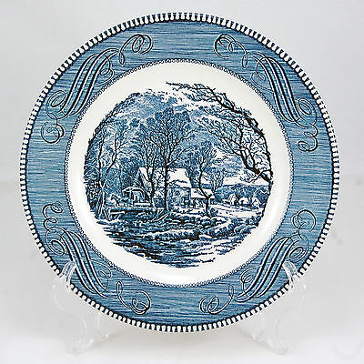 Royal USA CURRIER AND IVES- BLUE Dinner Plate 10 in. The Old Grist Mill Scrolls
