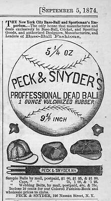 Peck & Snyder Professional Dead Ball Vulcanized Rubber, Webbing Belts, Caps, Ad