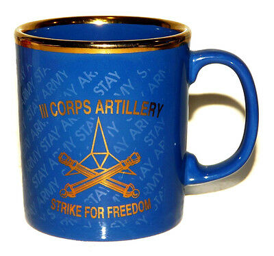 US ARMY III Corps Artillery Coffee Mug Gold Gilt Trim  Fort Hood Texas Blue