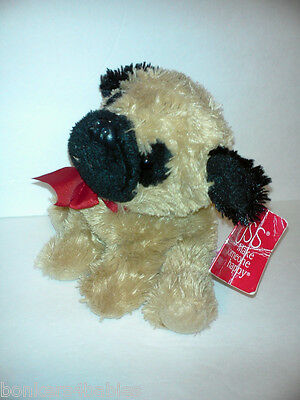 "NWT 7"" Russ Berrie PUG Puppy Dog Shaggy Stuffed Animal Plush"