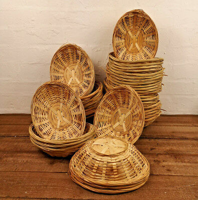 Vintage Oval Natural Bamboo Wicker Bread Basket Storage Hamper Display Trays