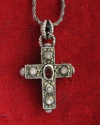 Vintage Sterling Silver Cross with  Oval Garnet - MOP & Marcasites
