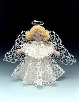 TATSY Tatted Angel Pattern + Snowman, Star, Stocking, Candy Cane, 2 Snowflakes