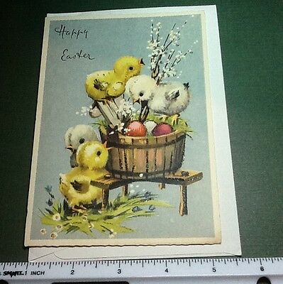 #C205- Vintage Glittered Easter Greeting Card Mainzer Made In Italy Baby Chicks