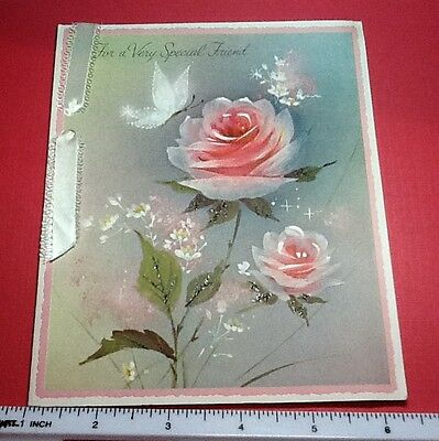 #C351- Vintage Norcross Special Friend Greeting Card Pink Roses & Butterfly