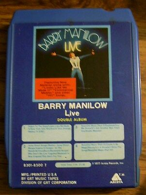 BARRY MANILOW LIVE 8 Track Tape Great Collectible for BARRY MANILOW FANS!!