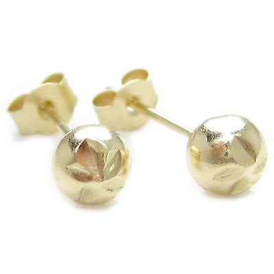 4mm apx 9ct gold diamond cut ball stud earrings .375 x 1 pair studs IDAP0167