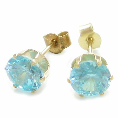 Cubic Zirconia Aqua colour 9ct yellow gold stud earrings .375 x 1 Pair IDAP2807