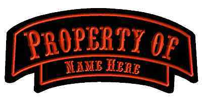 """Custom Embroidered Rocker Name Patch Motorcycle Biker Iron Tag 12"""" Property Of"""