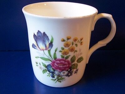 Vintage Crown Trent Lg Floral Coffee Mug Staffordshire England Fine Bone China