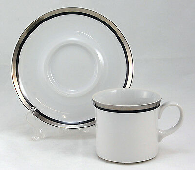 Mikasa MERCURY / STERLING L1054 Flat Cup and Saucer Set 2.875 in. Platinum Black