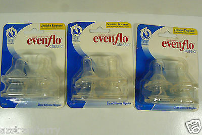 EVENFLO Classic 12 Silicone Nipples 0-3 months Slow Flow Sencitive LOT OF 3 pack