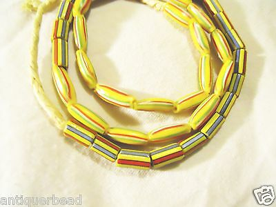 AFRICA TRADE BEAD-GHANA TOGO SMALL MIX YELLOW WATER MELON BEADS- one