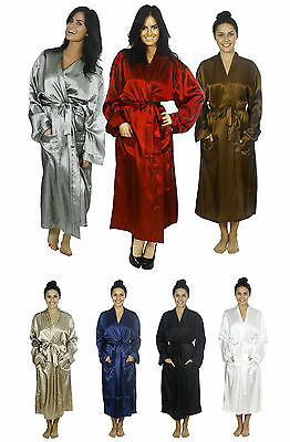 New Men's Sleepwear Nightgown Silk Satin Pajama Long Robe 8 Colors