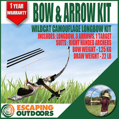 Archery LongBow 22lb with free arrow kit Target Practice 1.25kg