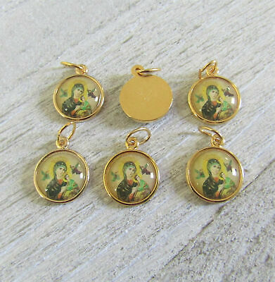 Our Lady of Perpetual Help Holy Medal Small Charm ITALY Rosary Part A106 GOLD