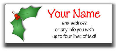 30 Personalized CHRISTMAS HOLIDAY Address Labels Cute Holly Leaf!