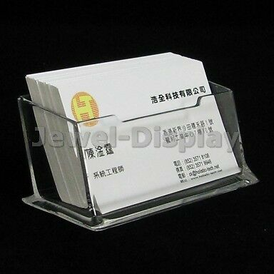 2Pcs Clear Acrylic Business Card Stand Price Display Holder 10.5x4.5x4.3cm