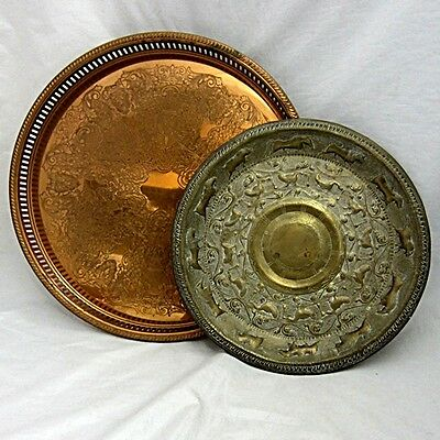 Vintage Two Serving Platter Lot One Copper Guild USA and One Imported Brass