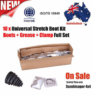 10 x CV Joint Drive shaft Universal Stretch Rubber Boot Box Kit Multi Fit Size