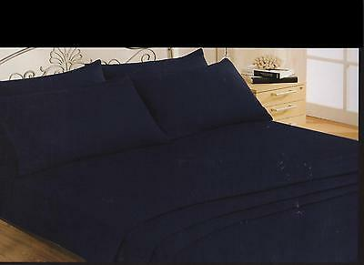 Soft Touch Double Size Navy Blue 6 Piece Fitted  Flat Sheet Sets 4 P/cases
