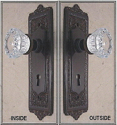 Egg & Dart 12 point Depression Crystal/Oil Rubbed Bronze Custom Door Knob Set