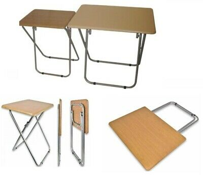 Wooden Top Metal Legs Folding Table For Tv Card Game Coffee Sofa Side Lap Top