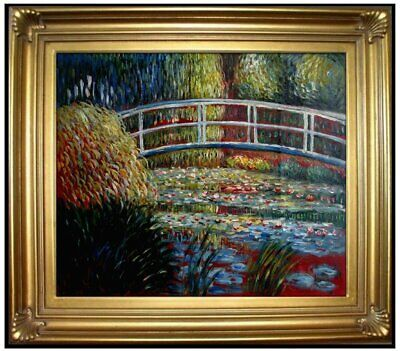 Framed Monet Bridge over Water Lily Pond Repro Hand Painted Oil Painting 24x30in