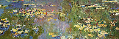 Handmade Art Deco Oil Painting repro Claude Monet Water Lilies I 20x60