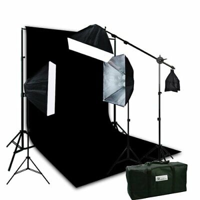 3 Softbox Hair Light Boom Stand Photo Video Lighting with Large 10 x 20 Black