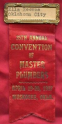 Master Plumbers Ribbon Bar Pin 1937 Muskogee Oklahoma Annual Convention rm143