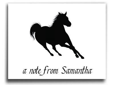 BEAUTIFUL Personalized Horse Silhouette Thank You Note Cards Set of 12