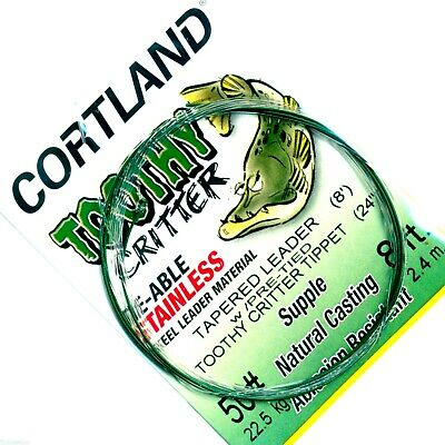 Cortland Pre-Assembled Tapered Fly Fish Nylon Leader w/ Tie-able Steel Tippet