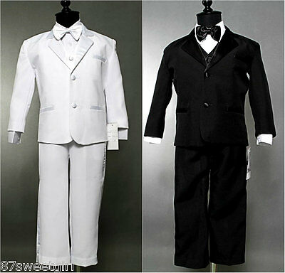 5Pc Set Boy White Black Tuxedo Children Formal Christening Party Suit All Sizes