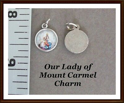 Lot 2 Our Lady of Mount Carmel Holy Medal Charm Small SILVER finish COLOR A131S
