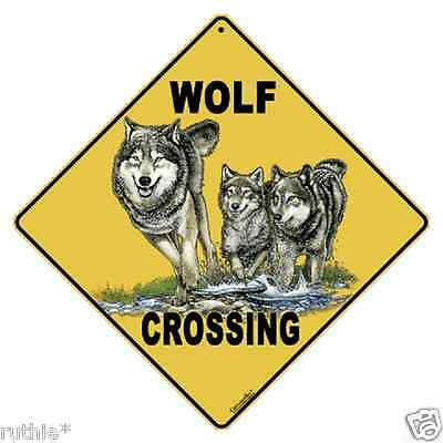 "Wolf Metal Crossing Sign 16 1/2"" x 16 1/2"" Diamond shape made in USA #28"