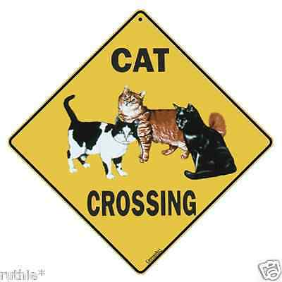 "Cat Metal Crossing Sign 16 1/2"" x 16 1/2"" Diamond shape Made in USA #89"