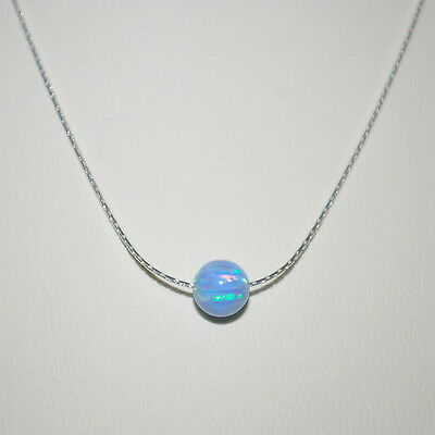 4 pcs Sterling Silver 925 0.6mm Fine Chain with 6mm BLUE OPAL BEAD NECKLACES Lot