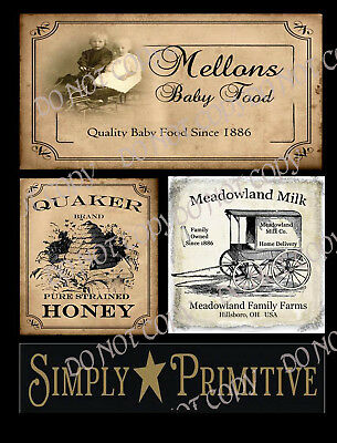 Primitive Style Pantry Labels for Cans or Box - #FH274