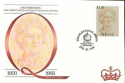 (94821) Nevis FDC Queen Mother 95th Birthday 20 July 1995.