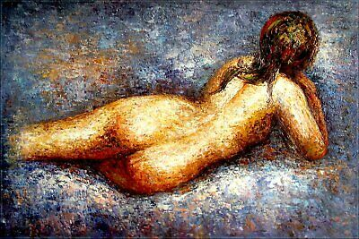 Stretched, Reclining Nude, Heavy Paint Hand Painted Oil Painting 24x36in