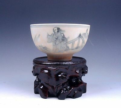 *Ship From U.S* Chinese Antique Ceramic Ancient Figurines Painted Bowl & Stand