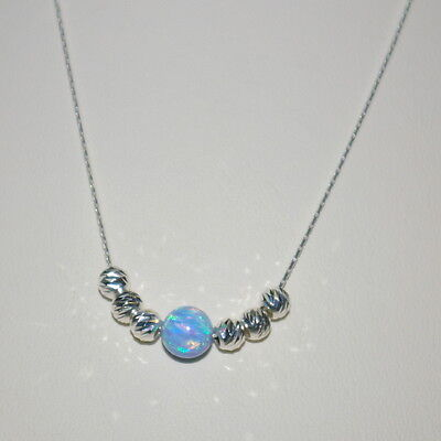 3 pcs St Silver 925 Fine Chain with 6mm BLUE OPAL & 4mm Laser Cut Bead NECKLACES