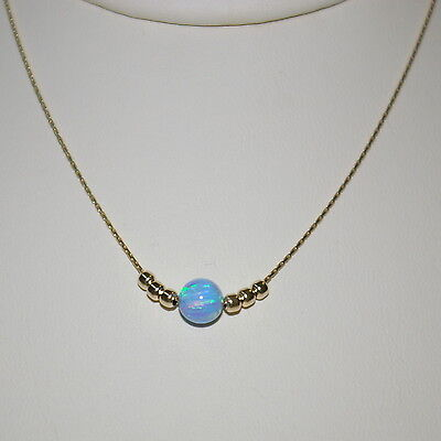 3 pieces 14kt Gold Filled Chain with 6mm BLUE OPAL & Gold Filled Bead NECKLACES