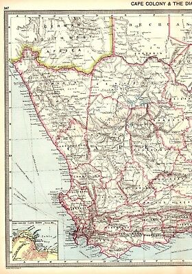 c1910 Antique SOUTH AFRICA Map DIAMOND FIELDS Mining Cape Colony Original Map