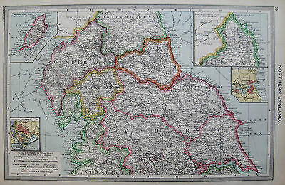 Antique Map of Northern ENGLAND  c1910  Map RARE Vintage 1900s Map