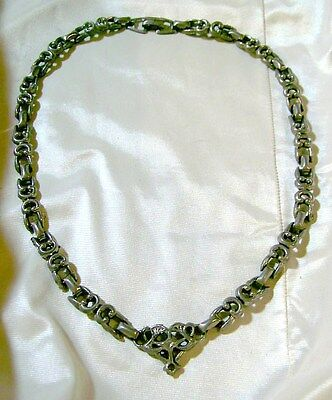 Vintage Metal LINKED CHOKER ORNATE DESIGN IN FRONT Very Unique Hippie Days!!