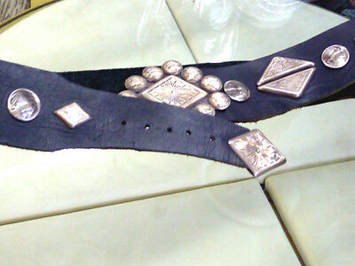 Navajo Stelring Silver On Leather Large Concho Style Mans Belt Indian Head Coins