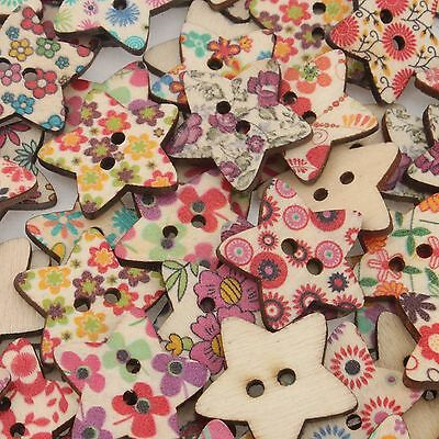 100Pcs Mixed Painting Star Wood Sewing Button Scrapbooking 22mm 111622